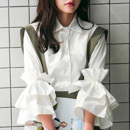 ボリュームフリル袖シャツ