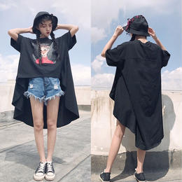 Tシャツ 半袖 プリント 変形 テールカット オーバーサイズ ビッグサイズ フリーサイズ 韓国 オルチャン 送料無料
