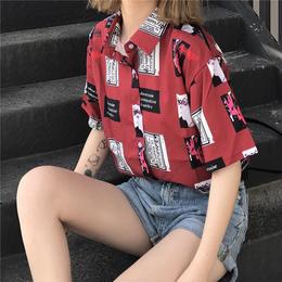 シャツ ブラウス 半袖 レトロ柄 新作 夏物 原宿系 韓国 オルチャン 古着系 ストリート系 送料無料
