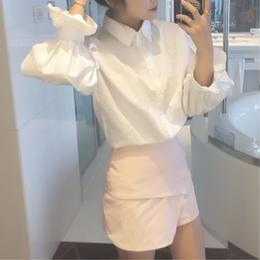 くしゅっと袖 シャツ ブラウス 7分袖 トレンドのボリューム袖 ホワイト 送料無料