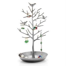 【アクセサリースタンド】アンティーク風 小鳥 ツリー 木 モチーフ 30cm カラー:シルバー