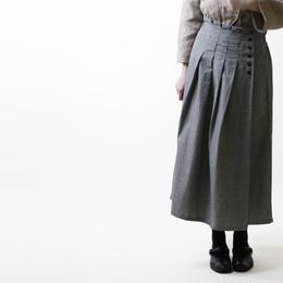 コットンリネン・グレンチェック・タックスカート/グレー