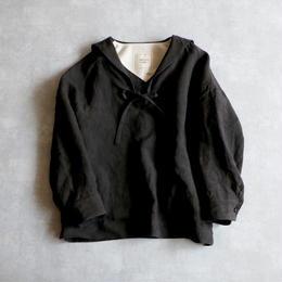 セーラーカラー・リネン・ブラウス/ブラック