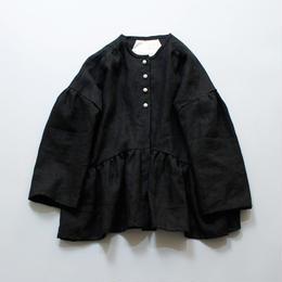 MAGALI リネンギャザー・ジャケット /ブラック