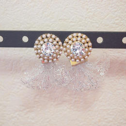 stone pearls mesh pierce