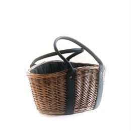 ストライプ布の柳バスケット (送料着払い)