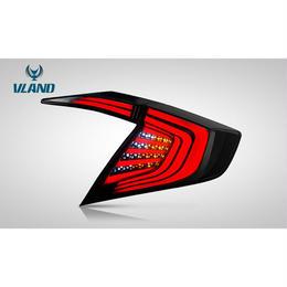 VLAND Civic シビック 10代目 セダン 2017- LED テールランプ ファイバー ブラック レッド ドレスアップ