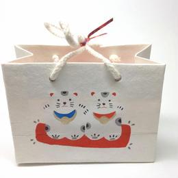 花見特製・雛あられ  手刷り和紙猫雛