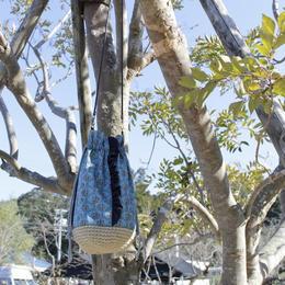 底編み巾着バッグcol.ターコイズ