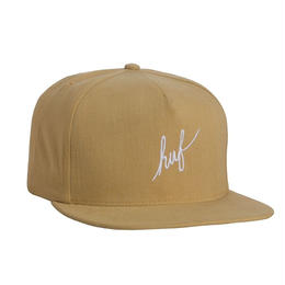 HUF / SCRIPT SNAPBACK- MADE IN USA (MUSTARD)