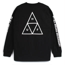 HUF  TRIPLE TRIANGLE L/S TEE (BLACK)