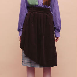 CHECK & CORDUROY 2WAY SKIRT (brown)