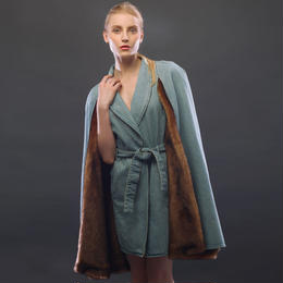 CAPE DENIM MINK FUR COAT
