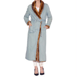 SUPER LONG DENIM MINK FUR COAT