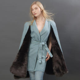 CAPE DENIM FOX FUR COAT