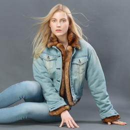 SHORT DENIM MINK FUR JACKET