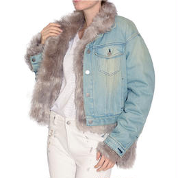 SHORT DENIM FOX FUR JACKET