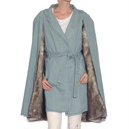 CAPE DENIM GRAY MINK FUR COAT