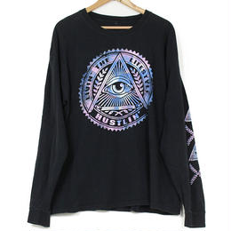 USED EYE OF PROVIDENCE 袖プリント ロングスリーブ Tシャツ ブラック
