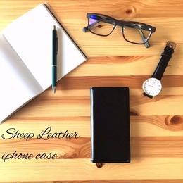 高級感のある iphone8 8plus 7 7plus 6 6s 6/6splus SE 5s 5 羊の本革 手帳型 スマホケース ブラック