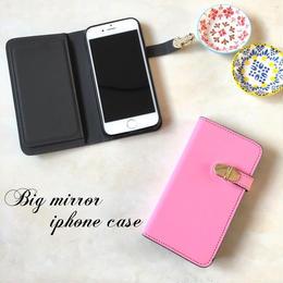 ミラー付 手帳型 iPhone 5 5s SE 6 6s 6/6splus 7 7plus 8 8plus X ケース P