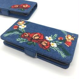 手帳型 iphone8 7 6s 6 ケース 刺しゅう 花柄 韓国 スマホケース デニム