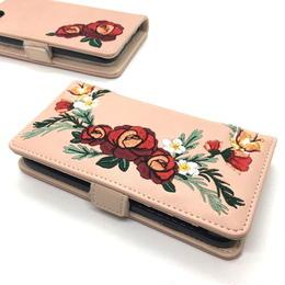 手帳型 iphone8 7 6s 6 ケース 刺しゅう 花柄 韓国 スマホケース ピンク