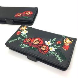 手帳型 iphone8 7 6s 6 ケース 刺しゅう 花柄 韓国 スマホケース ブラック