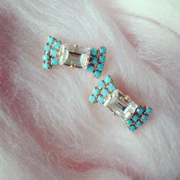 vintage turquoise × swarovski ribbon pierce