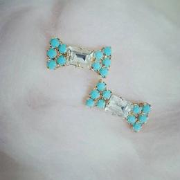 turquoise × swarovski ribbon pierce