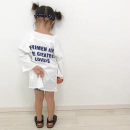 再再入荷☺︎kids兼用ok☆長袖バック英字デザインビッグTシャツ【ミニワンピ】ホワイト