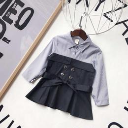 kids☻トレンチコートデザイン切り替えストライプシャツ【ブラック】