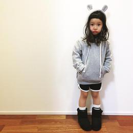 kids☻切りっぱなしデザイン★クマ耳フード付裏起毛パーカー【グレー】