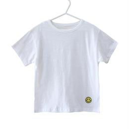 ☺︎kids兼用ok★ワンポイントスマイルロゴシンプルTシャツ【ホワイト】