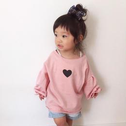 【土屋様専用】kids☻ハートプリントが可愛いオフショルトップス【ピンク】  90