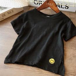 ☺︎kids兼用ok★ワンポイントスマイルロゴシンプルTシャツ【ブラック】