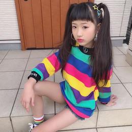 ★kidsユニセックス☻裏起毛カラフルデザインボーダートップス  【マルチカラー】