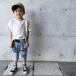 ☺︎kids☻英字デザインクラッシュハーフパンツ【ベルト付き】