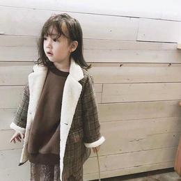 kids☻裏ボア★グレンチェック柄デザインあったかコート