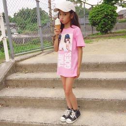 再入荷☺︎kids☆英字フォトプリントデザインTシャツワンピース【ピンク】#80