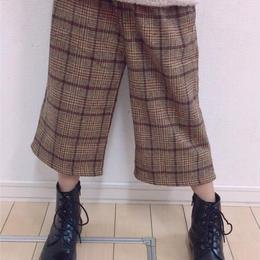 kids☻グレンチェック柄シンプルデザインワイドパンツ  【ブラウン】