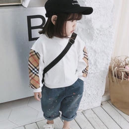 ★kidsユニセックス☻チェック柄サイドラインデザイン薄手スウェットトップス【ホワイト】