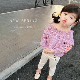kids☻ストライプデザイン2wayオフショルダー花刺繍トップス 【レッド】