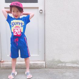 ☺︎kids兼用ok【セットアップ】英字デザイントップス+サイドライン入りハーフパンツ【ブルー】