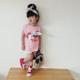 ☺︎kids★BABYフォトプリントデザインカラータンクトップ【ピンク】