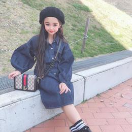 ☺︎kids☻バルーン袖デザインデニムワンピース【デニム】#57