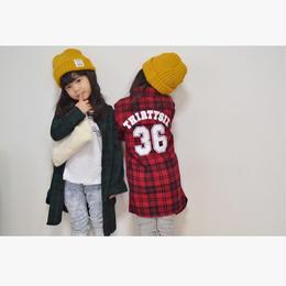 kids☻チェック柄シャツワンピース【ロングシャツ】グリーン・レッド