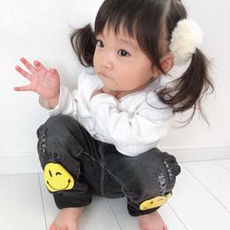 kids兼用ok☻ニコちゃんデザイン裏起毛デニム【ブラック】