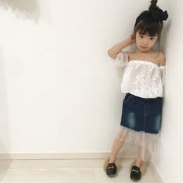 Baby★kids【80.85.90.95.100】☻レースデザインビスチェ+切替スカート【2点セット】