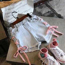 ☺︎kids☻サイド編み上げデニムショートパンツ  【デニム】  ピンク紐